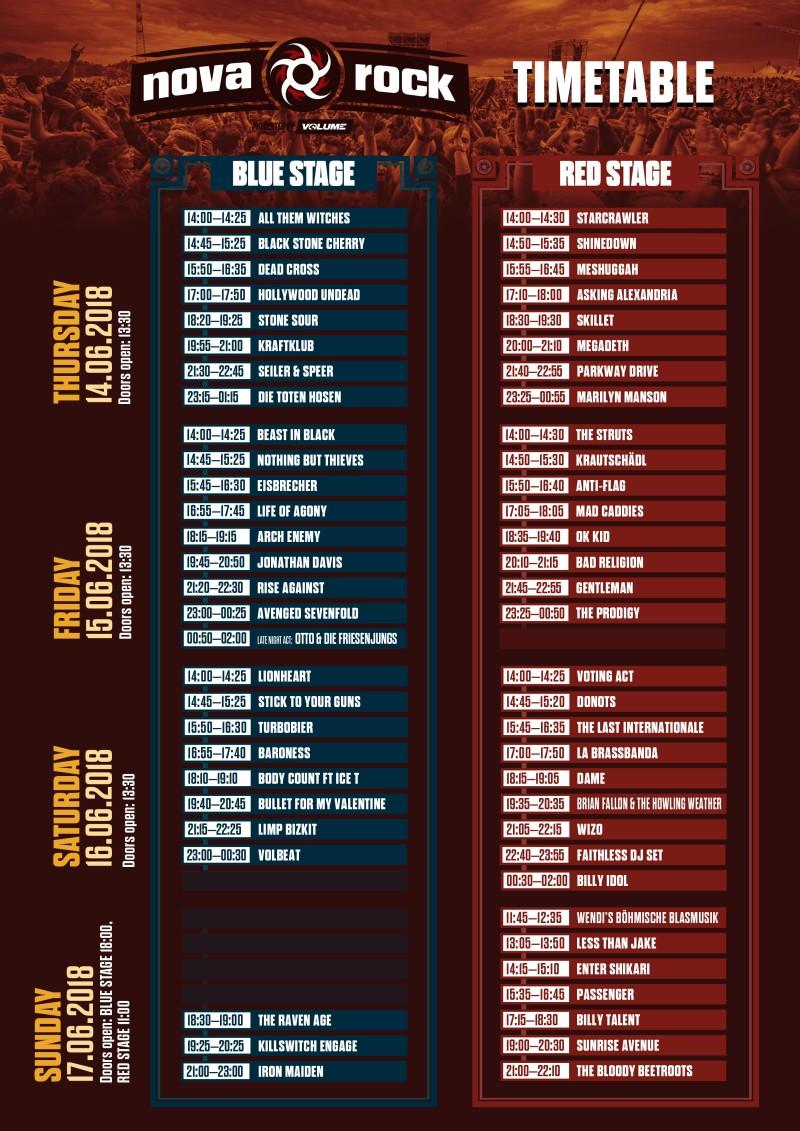 Nova Rock Daily Timetable