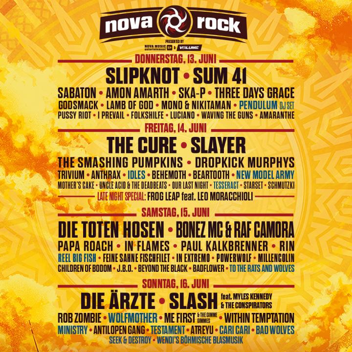Nova Rock Festival 2019 line up per day