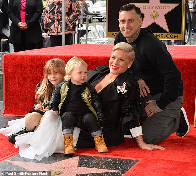 Pink and family on Walk of Fame Hollywood