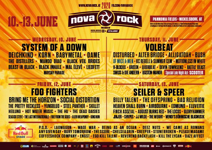 Nova Rock 2020 Programul pe zile